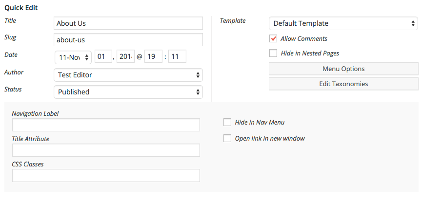 Nested Pages for WordPress custom menu options